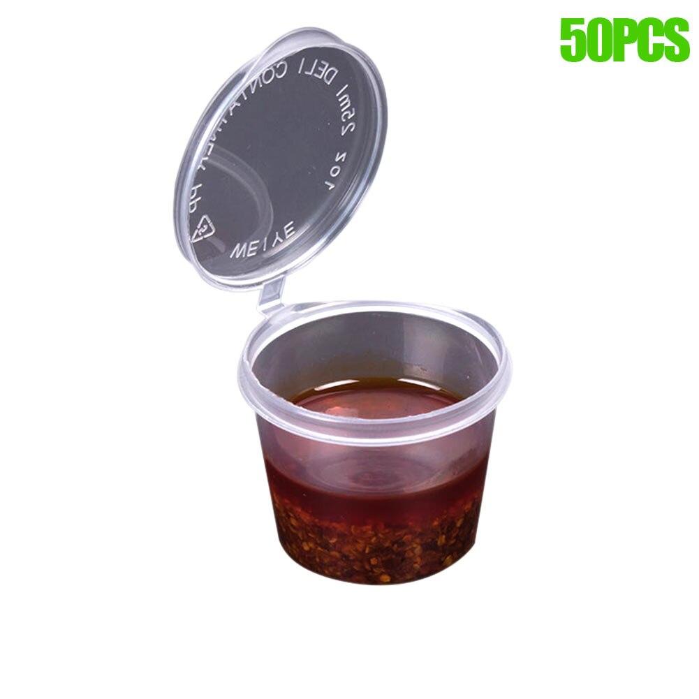 50 Pcs/Set 40ml Sauce Cup Transparent Plastic Disposable Sugar Ketchup Food Storage Container Salad Jam Dip Box With Lid Hogard