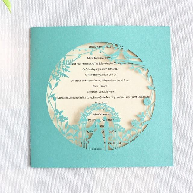 Custom Wedding Invitations White Blue Navy Blue Printable Folded