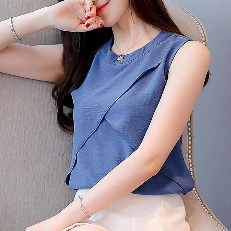 ファッション女性青と白のブラウスショートシャツ 2019 レディセクシーなノースリーブシフォンブラウス女性トップオフショルダートップ 3635 50