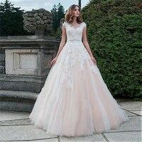 2019 кружево свадебное платье кепки рукавом кнопка назад Пляж Свадебные платья с аппликацией из тюля свадебное платье для принцессы