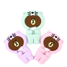 hot deal buy food silicone baby teethers training cute tiger toddler safe chew toy teething gift ring infant oral care baby newborn products