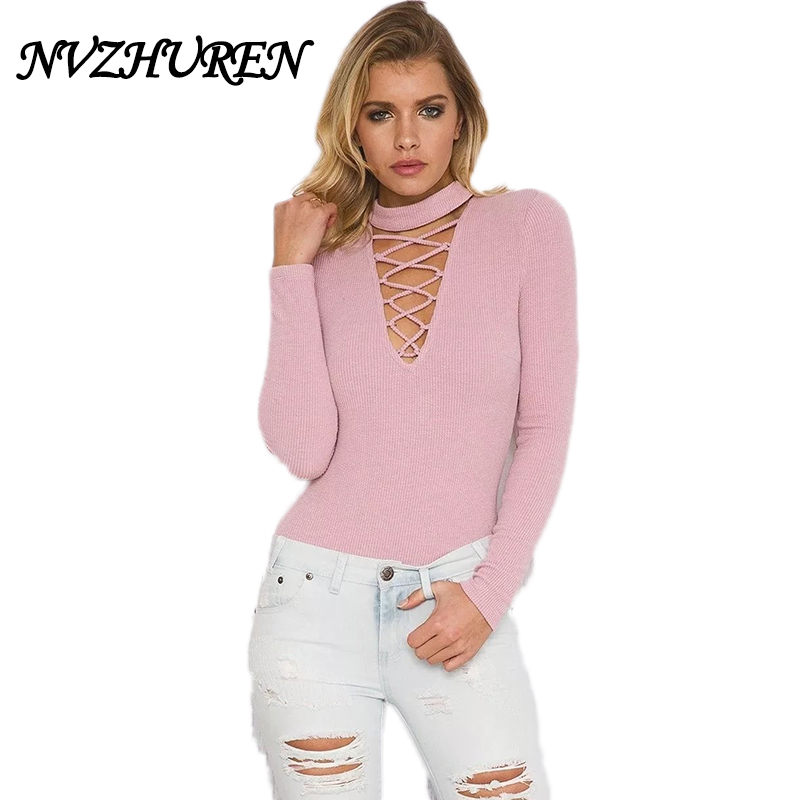 NVZHUREN Halter Hollow Out Sexy Bodysuit Women Pink Long Sleeve Jumpsuit Romper Lace Up Knitted Party Sweater Pullovers