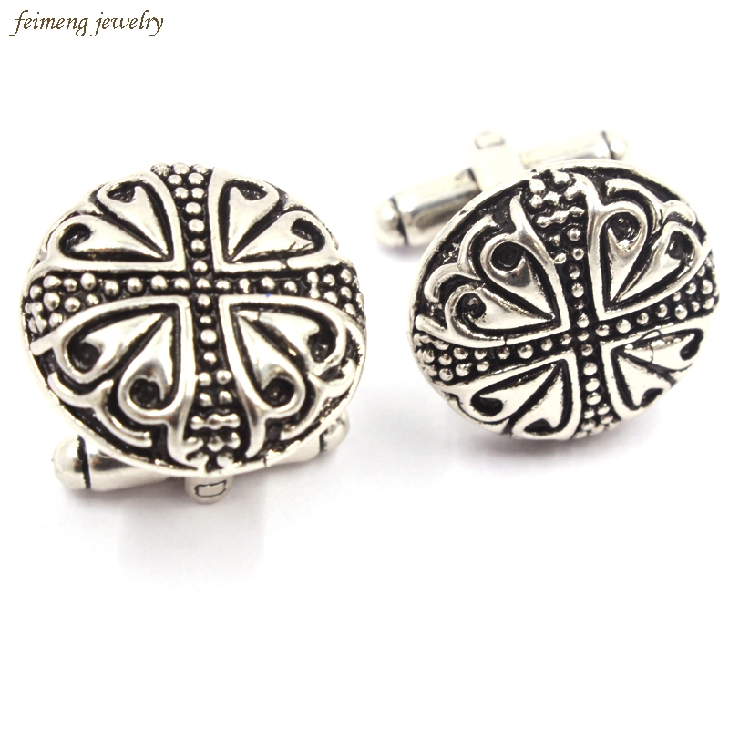 Indian Gothic Style Antique Silver Greek Mythology Cross Cufflink For Mens Shirt Brand Cuff Buttons Classic Retro Cuff Links
