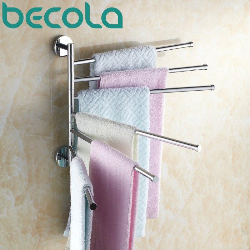 Free shipping BECOLA Bathroom accessories Folding Movable Bath Towel Bars Surface Chrome Towel Racks B 88005