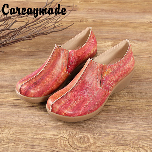 Careaymade-Genuine leather Leisure shoes New Womens SlippersWomens Muffin and Slippers Ethnic Style Leather Slope