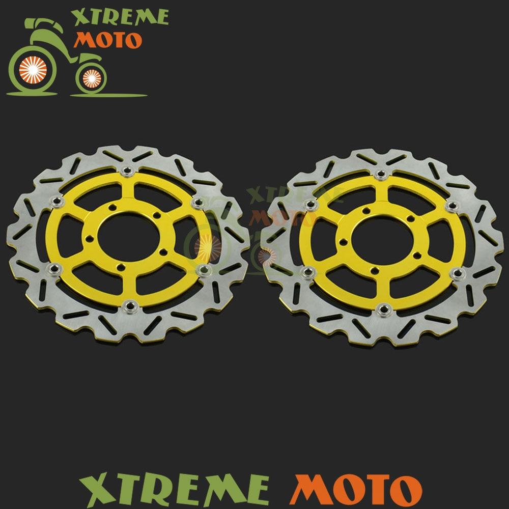 2Pcs Gold Motorcycle Front Floating Brake Disc Rotor For Kawasaki ZX6R Ninja Z800 ZX10R ZX14R GTR1400 ZZR 1400 ZG1400