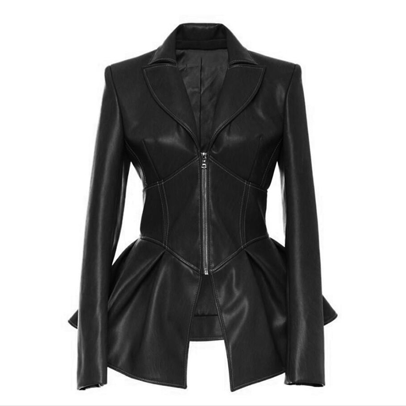 Hot Jackets For Women Spring 2019 Brand PU   Leather   Jacket Gothic Large Turn-Down Collar Sashes Big pendulum ladies   leather   Coat
