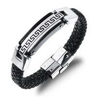 LASPERAL Stainless Steel Men Brecelets For Women Black Great Wall Pattern Magnetic Snap Allergy Summer Style