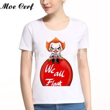 T-shirt imprimé mignon Curry Devil Evil Clown Stephen King's It Pennywise été femmes à manches courtes T-shirt L5-144(China)