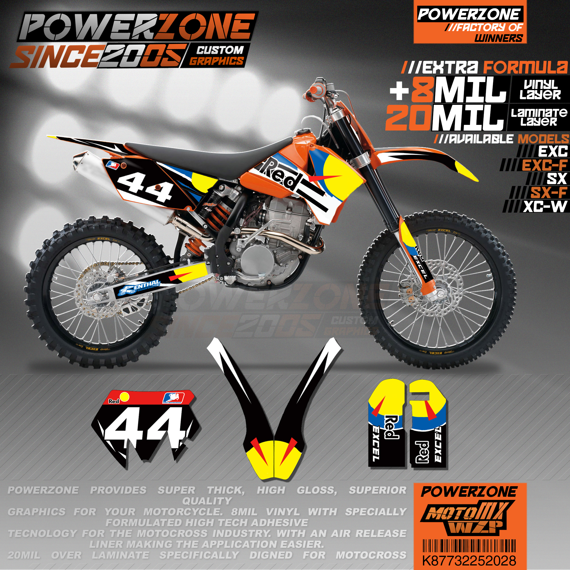 PowerZone на заказ футбольной команды Графика Фоны наклейки 3m Набор наклеек для KTM SX SXF MX EXC xcw Enduro 125cc к 500cc 2003-2007 028