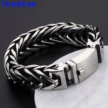 TrustyLan Pulseira Masculina Ne Se Fanent Jamais En Acier Inoxydable 316L Bracelet Hommes Bijoux V Forme Hommes Bracelets 2017 Dropshipping Cadeau