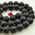 6 мм 8 мм 10 мм 12 мм натуральный камень бусины круглый черный матовый оникс черная линия агат бусины для мастеров ювелирных изделий браслета ожерелья