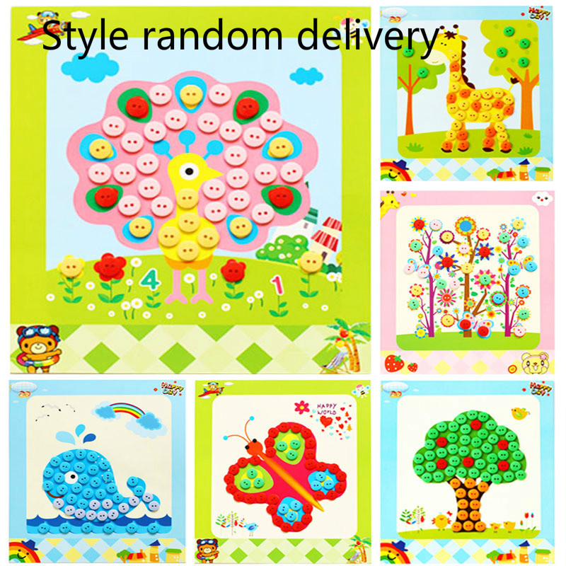 1pcs Random Children handmade button sticker painting DIY material package kids smart study tools Sticky Art Educational Picture ...
