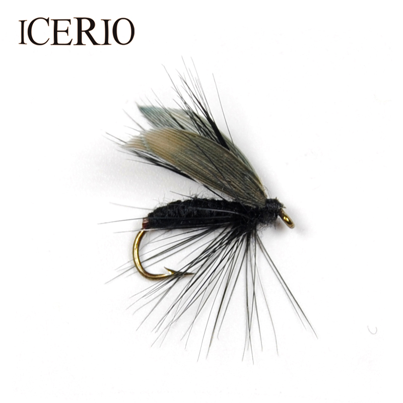 ICERIO 6PCS Black Fly Larvae With Wings Fly Fishing for Trout Bait Size #12 fly ff243 black
