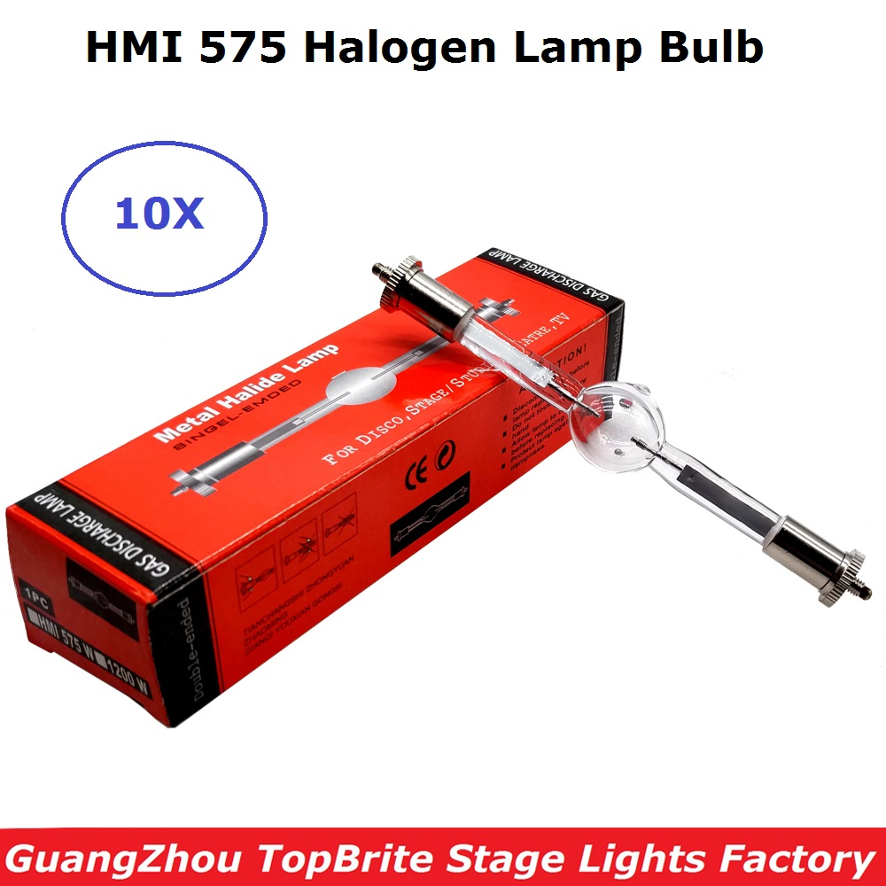 10xLot Sales HMI 575/2 Stage Scan Lamp 575W Stage Studio Lampen Metaalhalide SFc10-4 Double Ended HMI575 Volg Spot Bulb