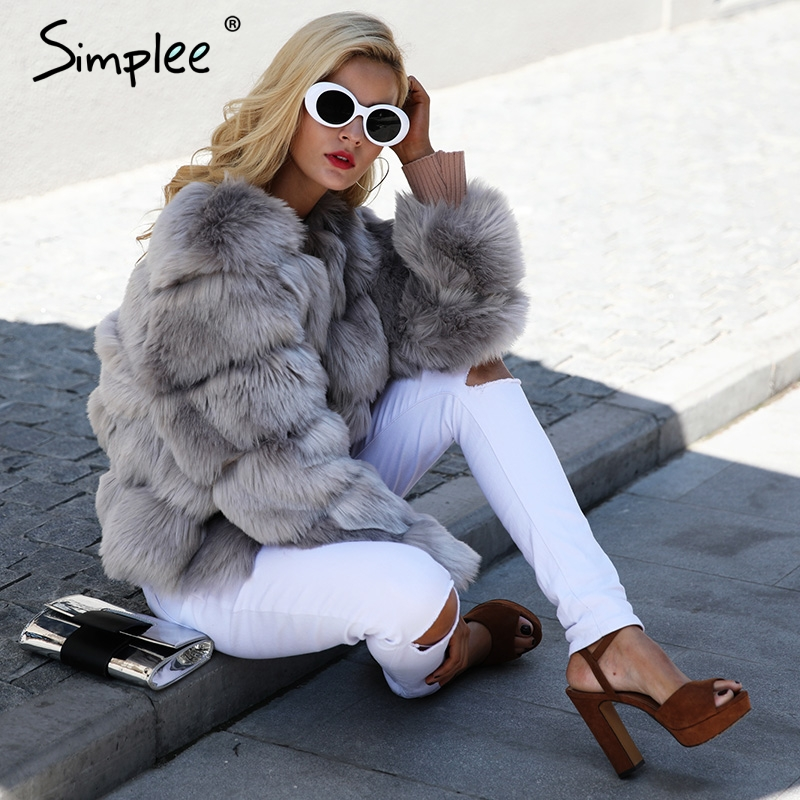 Image 2 - Simplee Vintage fluffy faux fur coat women Short furry fake fur winter outerwear pink coat 2018 autumn casual party overcoat-in Faux Fur from Women's Clothing