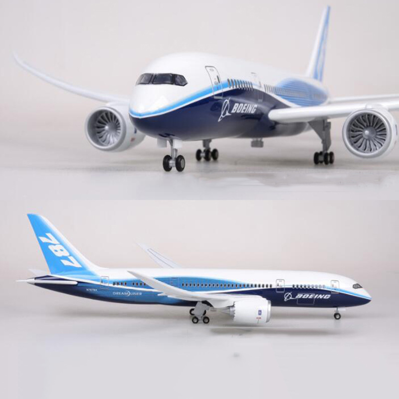 47CM Airplane Model Toys Boeing B787 Dreamliner Aircraft Model With Light And Wheels 1/130 Scale Diecast Plastic Resin Plane