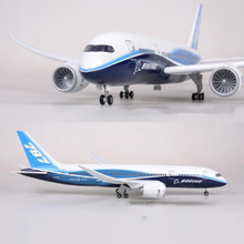 47CM Airplane Model Toys Boeing B787 Dreamliner Aircraft Model With Light and Wheels 1/130 Scale Diecast Plastic Resin Plane цена