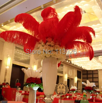 30pcs/lot (65-70cm)26-28'' inches red Ostrich Feathers long Ostrich Feather plumes for wedding /party/stage centerpieces