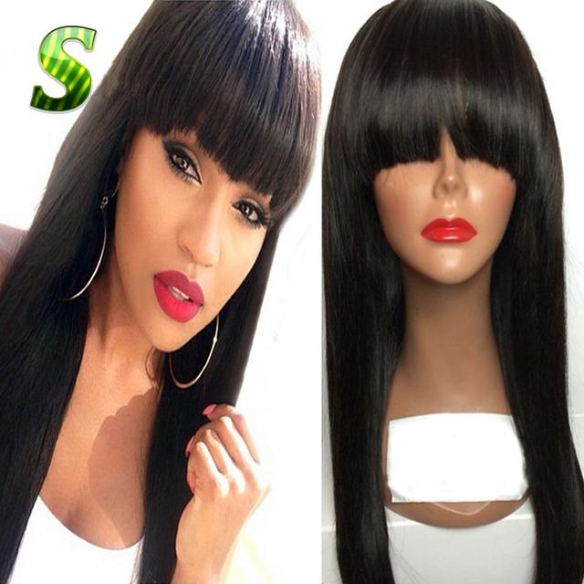 2017 New Silky Straight Brazilian Wigs Virgin Full Lace Wig & Lace Front Wig For Black Women Brazilian Full Lace Human Hair Wigs