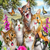 Photo Wallpaper 3D Cartoon Cute Cat Animal Wallpaper Murals Children Kids Bedroom Backdrop Wall Eco-Friendly Non-Woven Murals 3D 3