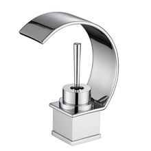 Newest Dual Handle One Hole Basin Mixer Tap Waterfall Spout Deck Mounted Bathroom Sink Faucet Brushed Nickle Bathroom Faucets стоимость
