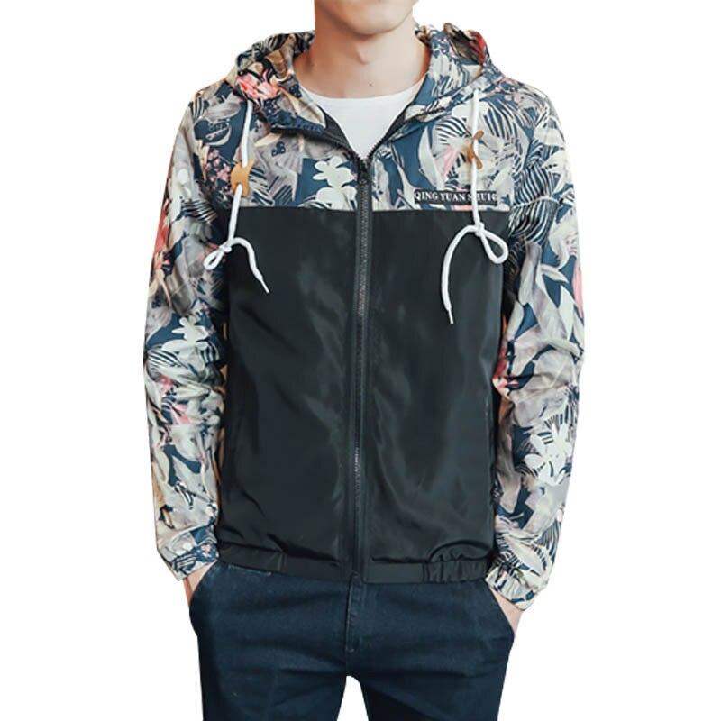 Плюс Размеры L-4XL мужские Пальто для будущих мам с длинным рукавом с цветочным принтом на молнии Тонкий Куртки hooed Пальто для будущих мам хип-...