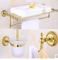 New Copper Bathroom Accessories Set Gold Towel Bar Glass Shelf Toilet Brush Holder Paper Holder Wall