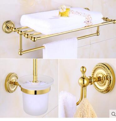 New copper bathroom accessories set gold towel bar glass for Gold glass bathroom accessories