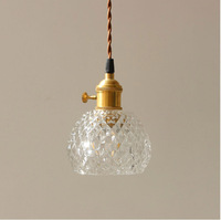 Brass glass chandeliers Scandinavian retro arts and crafts bar bedroom bedside personality creative Japanese lamps led lighting