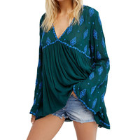 Maxi Diamond Embroidered Women Blouse Tunic V Neck Open Back Sexy Shirts Tops Flare Sleeve Boho