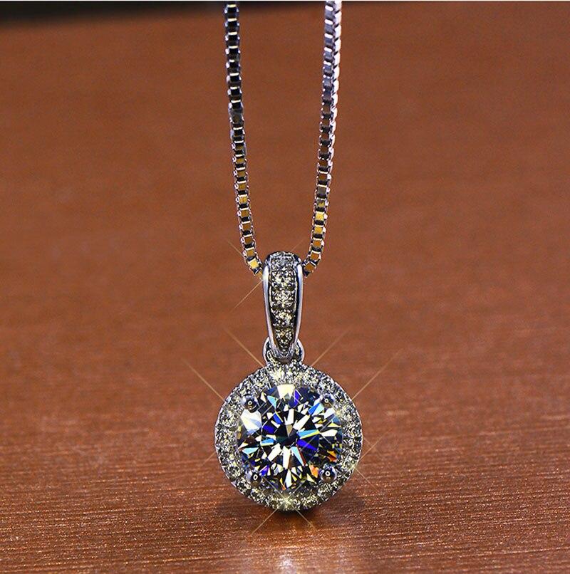 18K White Gold 1 Ct Moissanite Diamond Necklaces Women Pendant Necklaces  Wedding Party Engagement Anniversary 1