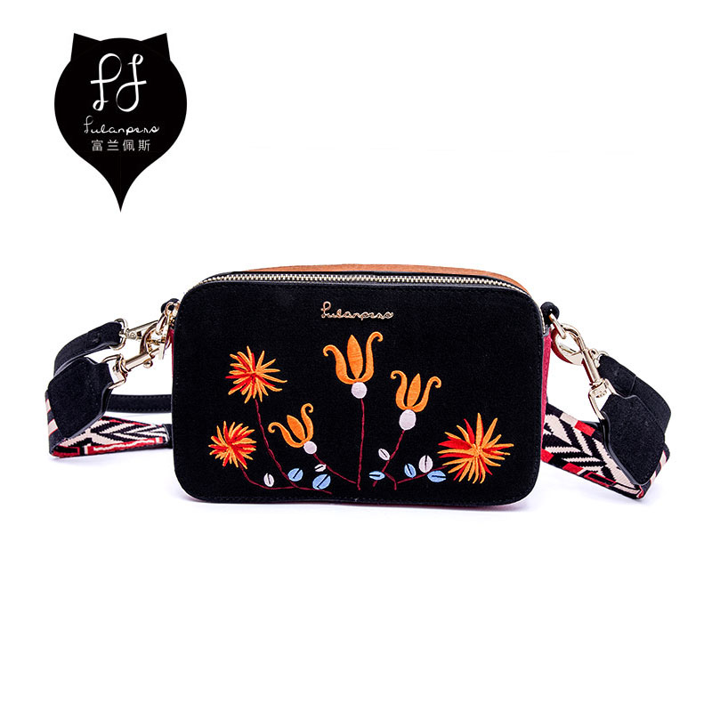 FULANPERS Luxury Handbags Women Bag Female Wide Colorful Strap Shoulder Messenger Bags Fashion Embroidery Double Zipper Flap