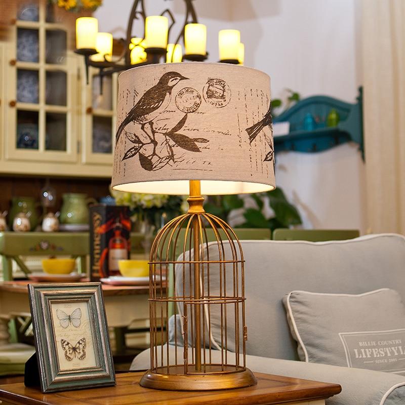 LED E27 Nordic Iron Fabric Birdcage LED Lamp.LED Light.Table Lamp.Desk Lamp.LED Desk Lamp For Bedroom Foyer
