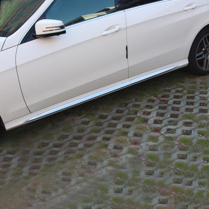 Para Mercedes Benz W213 chrome etiqueta Do Carro saia lateral tiras brilhantes sob a guarnição da porta de aço Inoxidável tira W212 E-CLASS