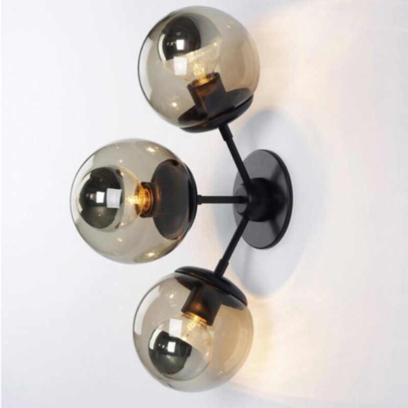 Европейский Креативный арт простой черный железный настенный светильник DIY ретро промышленный волшебный бобы молекулярный Янтарный стеклянный шар Настенный Бра Лампа