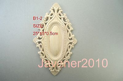 B1-2 -25x15x0.5cm Wood Carved Round Onlay Applique Unpainted Frame Door Decal Working Carpenter Flower