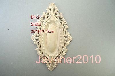 B1-2 -25x15x0.5cm Wood Carved Round Onlay Applique Unpainted Frame Door Decal Working Carpenter Flower