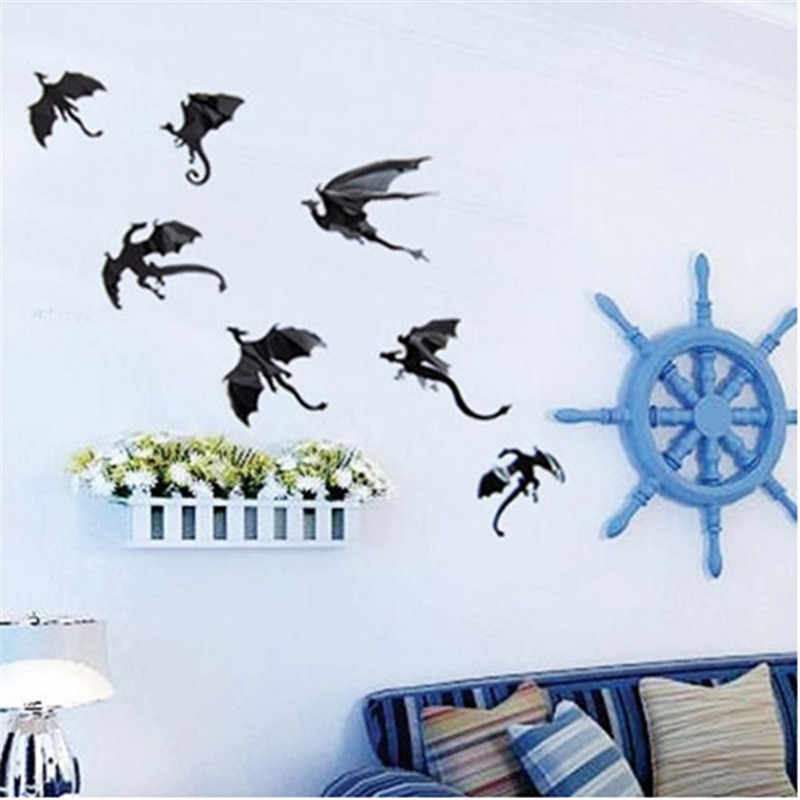 7pcs/Lot 3D Gothic Dragon Wall Sticker Game of Thrones Inspired 3D Dragon Wall Stickers Home Decorations