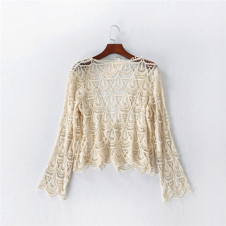 e2ab2f0085397 Transparent cut-out flowers hooked short lace cardigan flare sleeve long  sleeve belt top shirt summer for women new 2018