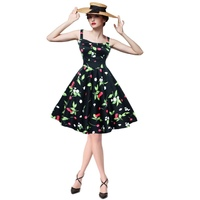 Vintage Women Print dress Fit and Flare Sleeveless Party above Knee Mini regular Dresses