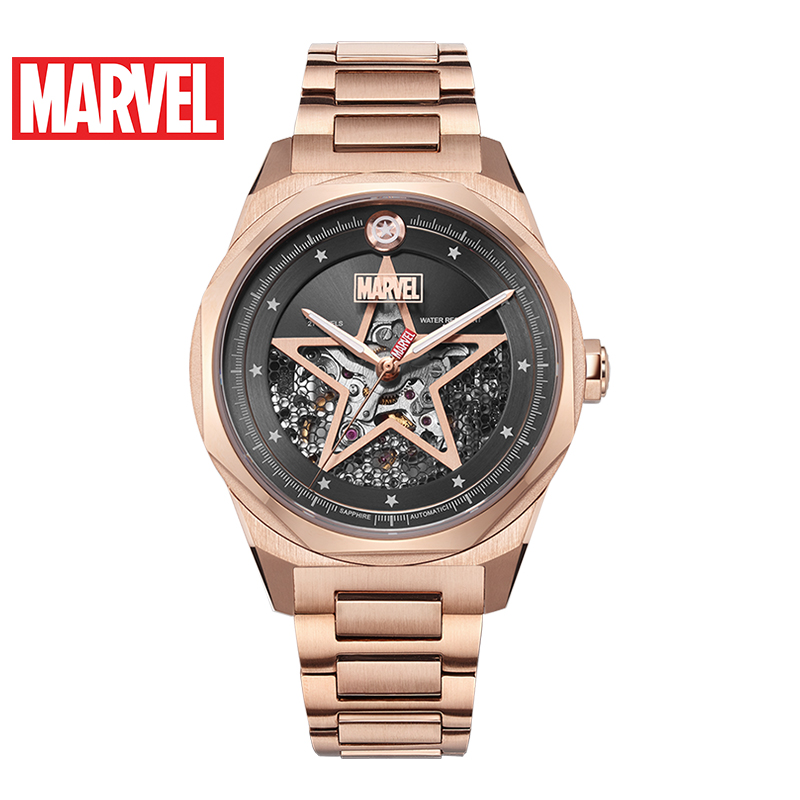 DISNEY Marvel Avengers Full 316 Stainless Steel Hollow Automatic Waterproof Watches Gold Mechanical Captain America Watch Unisex
