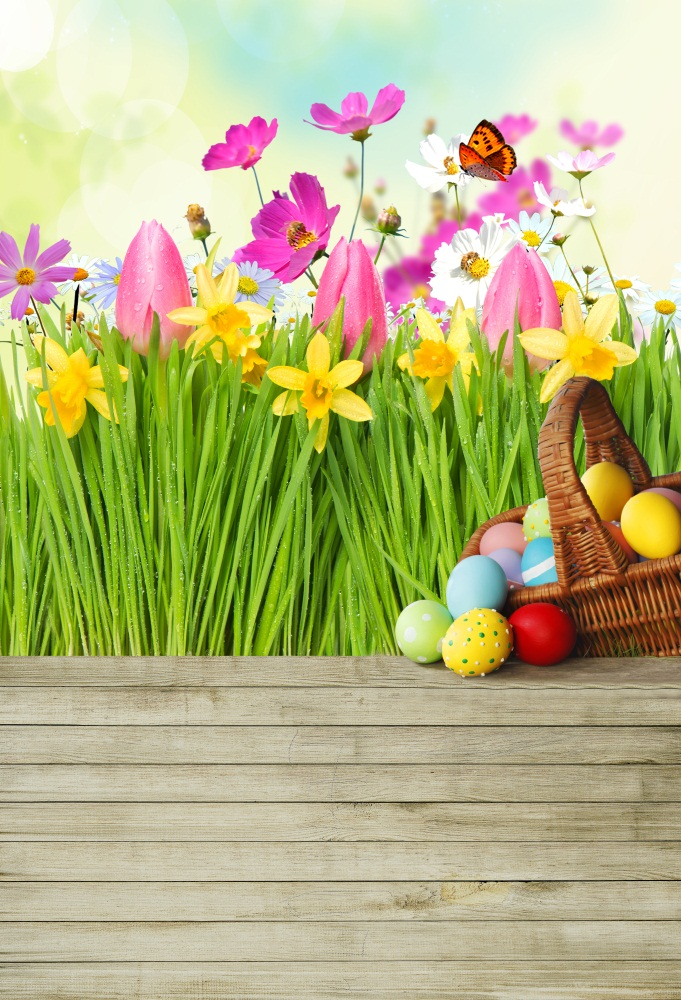 Laeacco Easter Eggs Flowers Wooden Boards Floor