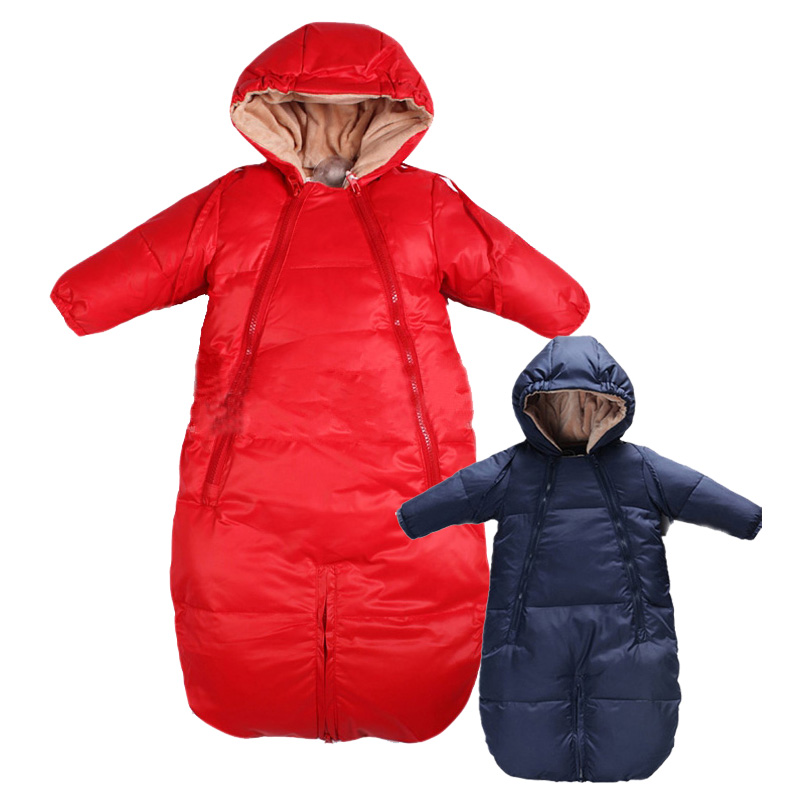 High Quality Infant Down Filling  Baby Sleep Clothes Snow Wear,Long Sleeve Hooded Winter Coat,Russian Newborn Warm Jumpsuit