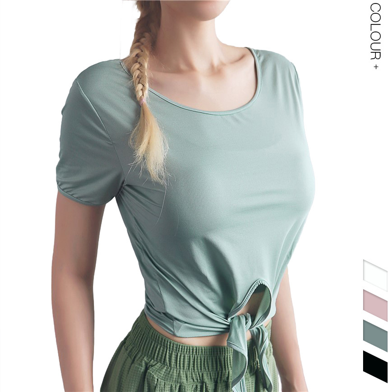 @1  Женщины 4 цвета ласточкин хвост галстук свет дышащая фитнес футболка быстросохнущая йога футболка сп ①