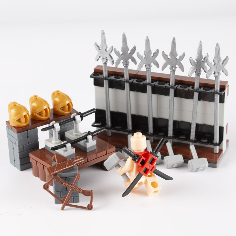 MOC Weapon Accessories Building Blocks Medieval Knight Bow Arrow Spear Helmet Knife Hammer Scene Bricks Toys For Children C102