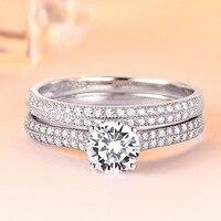 Boho Female Crystal White Round Ring Set Brand Luxury Promise Silver Engagement Ring Bridal Wedding Rings for Women