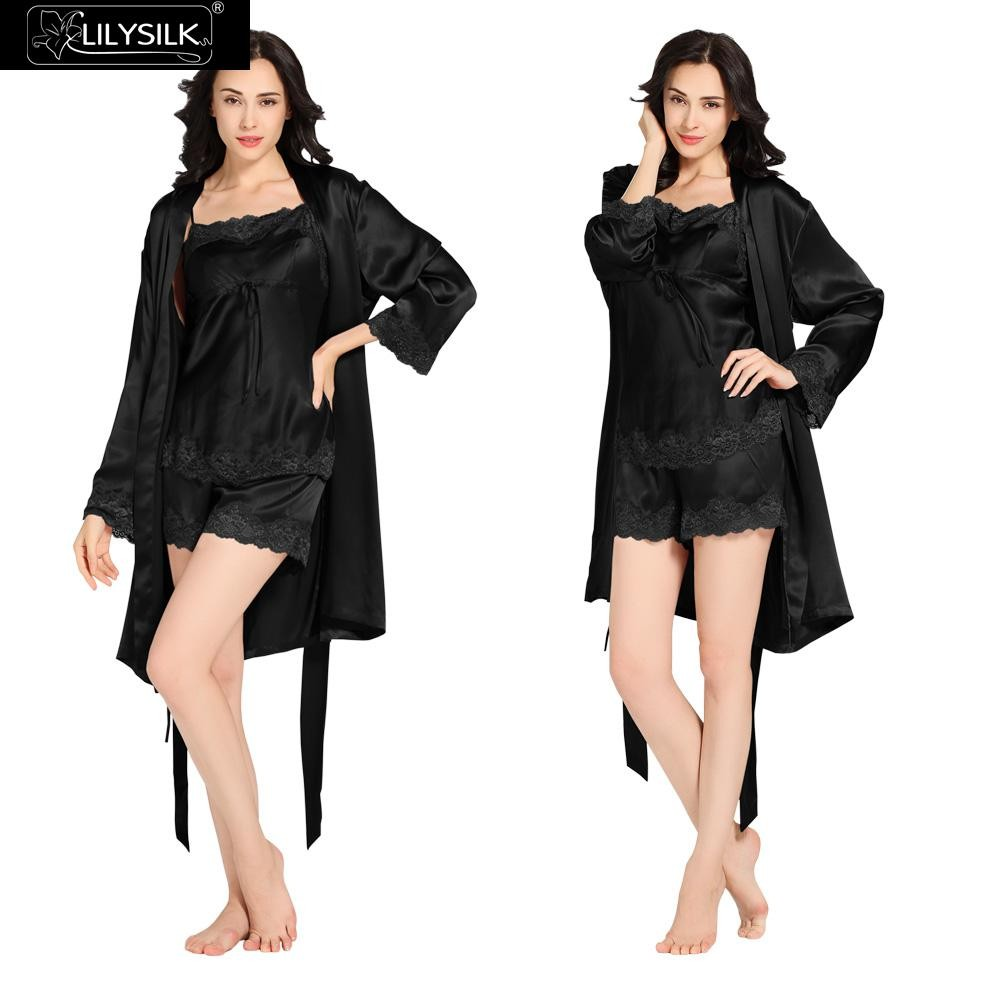1000-black-22-momme-short-lacey-silk-camisole-&-dressing-gown-set