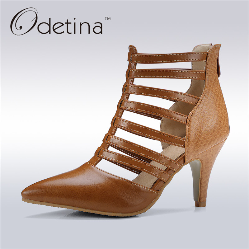 Odetina 2017 New Fashion Rome High Heel Gladiator Sandals Cut Outs Summer Boots Ankle for Women Pointed Toe Shoes Big Size 31-48