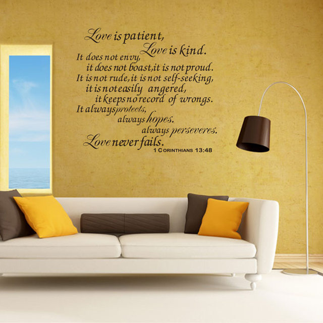 Online Shop Bible Wall Stickers Love is Patient Scripture Quote Wall ...